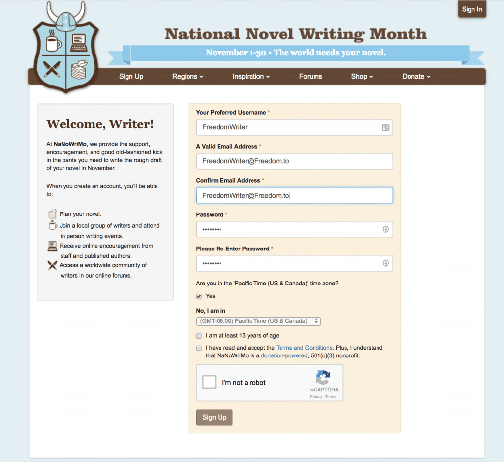 Sign up for Nanowrimo