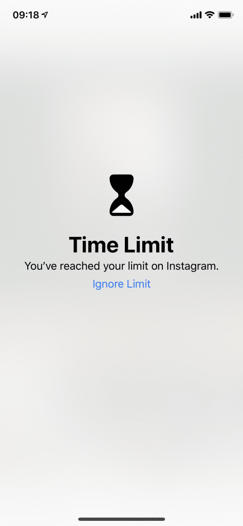 App time limit reached