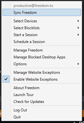 Select the Freedom butterfly icon and select 'Enable Website Exceptions'