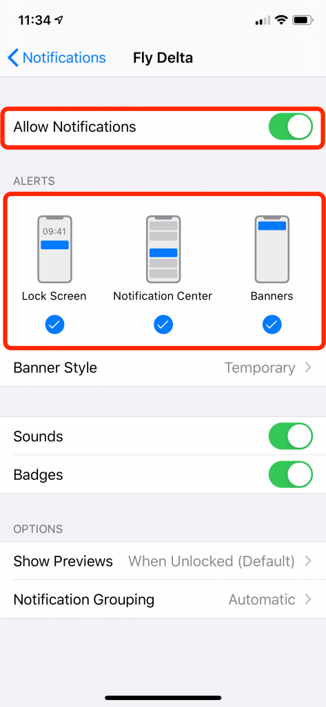 Toggle notification settings for each app