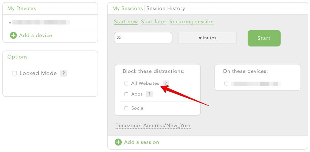 Freedom dashboard - block websites