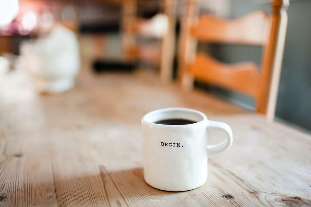 Work on your most important task first - mug with coffee