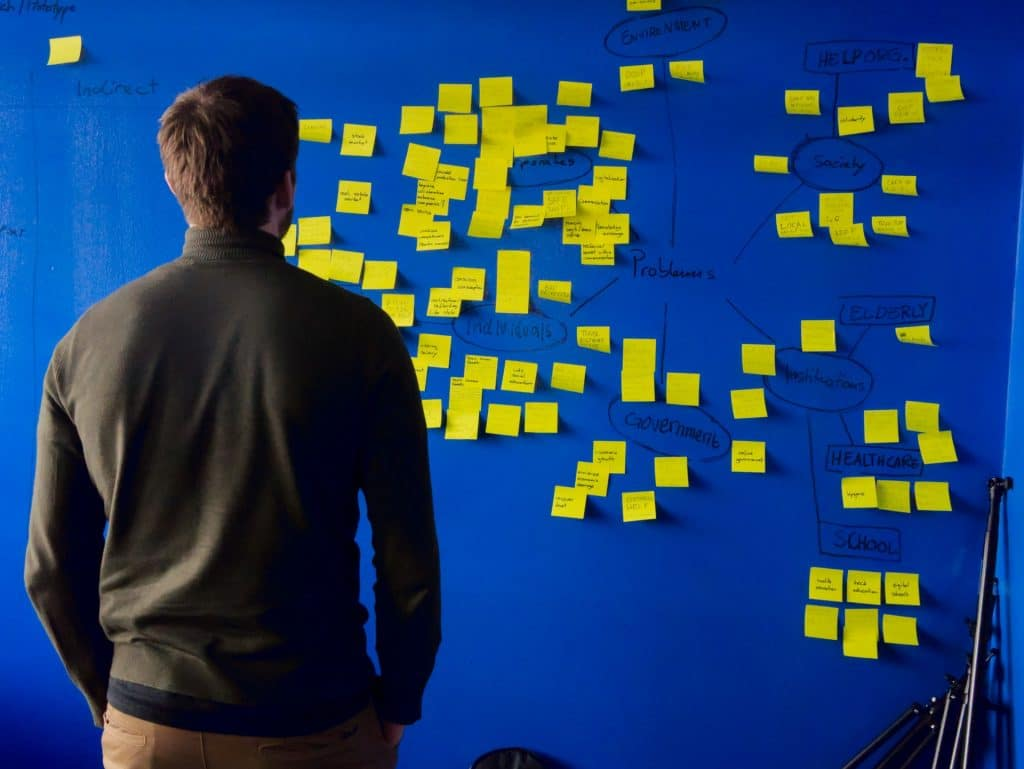 Man standing in front of brainstorming sticky notes