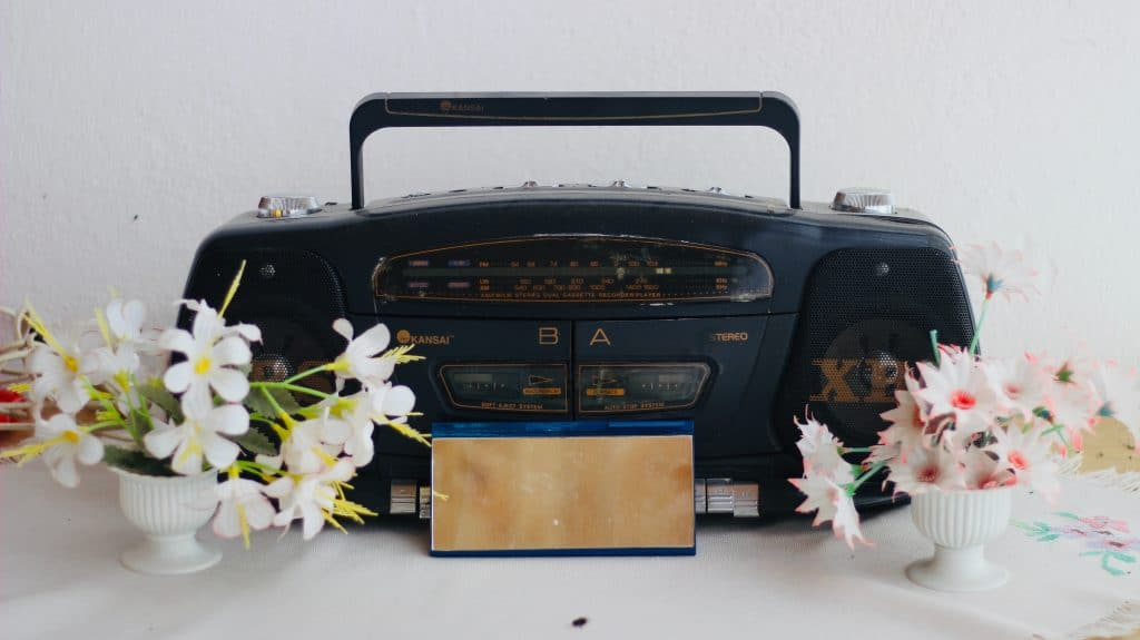 retro cassette recorder with flowers